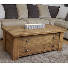 Rugged 2 Drawer Coffee Table with Knobs. From Curiosity Interiors, Alfreton.