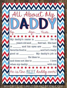 All About My Daddy Interview with FREE Printable! - This is the sweetest gift for Father's Day! All About My Daddy Interview with FREE Printable!