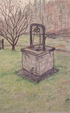 """My drawing of my grandparents' old well in Kentucky's Appalachia. From """"What I Wouldn't Give for Another Taste of That Old Well Water!"""" on Appalroot Farm: A blog inspiring those with Appalachian roots to celebrate their heritage.  www.appalrootfarm.com"""