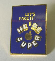 """Vintage Apple Computer """"We're Super"""" Lapel Pin EMPLOYEE ONLY with Logo c.1980's #Apple"""