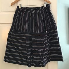Anthropologie Maeve cute navy striped skirt size 6 Anthropologie Maeve cute navy striped skirt size 6- two nice big pockets in the front! Anthropologie Skirts Midi