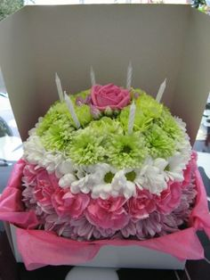 birthday cake floral arrangement Flower birthday cake with white