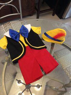 Pinocho disfraz 5 pedazos la camisa, corta, chaleco, lazo y sombrero (tallas 6 meses a 5T)