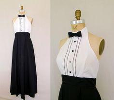1970's tuxedo dress More