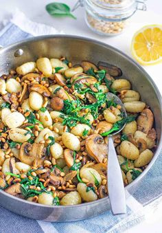 You will not find a better way to enjoy the flavor of mushrooms, spinach, gnocchi and browned butter together than this amazing side dish. I can absolutely see this being served as a main dish for anybody that isn't partial to meat or is trying to cut back on meat. The recipe serves four as a side dish and most likely two people as a main dish. But it wouldn't be hard to double the recipe ingredients to make a meatless meal for four people. This would make a very nice meal in it's self for…