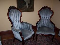 Captivating Pair Of Victorian Arm Chairs By Kimball Reproductions Sky Blue Mahogany  Chicago