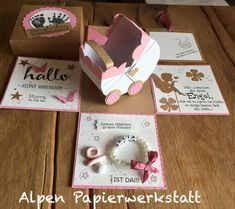 Baby & Birth Cards – Money Gift / Explosion Box for Birth – a unique product by AlpenPapierwerkstatt on DaWanda Card In A Box, Pop Up Box Cards, Baby Birthday Card, Birthday Box, Exploding Gift Box, Cool Paper Crafts, Congratulations Baby, Birth Gift, Girl Baby Shower Decorations