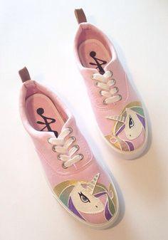 f3c9fcead1b9cd Unicorn Shoes - Unicorn Gifts - Rainbow Print - My Little Pony - Horse  Print - Unicorn Horn - Vans - Holographic - Metallic - Pink Plimsolls.  Painted Bags ...