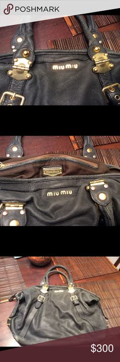 Authentic MIU MIU lampskin  handbag black Please buyers this is in good condition but it's well used no tears but it's little distress Leather need some shining or touch up. The inside fabric is little worn but no hole or any major stains. I would genuinely say the hardware is so beautiful and well preserved and the leather is so soft. Miu Miu Bags Hobos