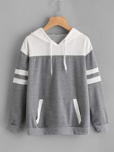 To find out about the Contrast Panel Varsity Striped Marled Hoodie at SHEIN, part of our latest Sweatshirts ready to shop online today! Mode Outfits, Casual Outfits, Fashion Outfits, Ootd Fashion, Fashion Black, Fashion Styles, Fashion Ideas, Sweatshirt Outfit, Cool Hoodies