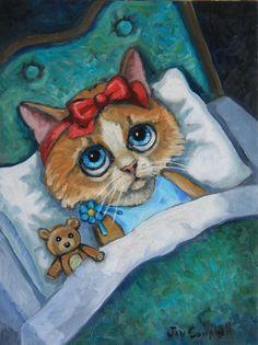 """""""Little Kitten can't Fall Asleep, Neither can her Bear"""" - Joy Campbell"""