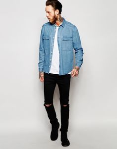 Image 4 of ASOS Military Denim Overshirt With Two Pockets