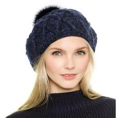 Navy stocking cap with pom pom for women fashion knit beanie hats