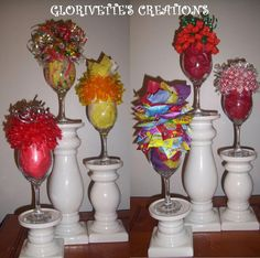 Wine Glass Candy Bouquets by Glorivette331 on Etsy, $15.00