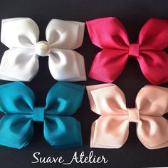 Discover thousands of images about Cute bows Ribbon Hair Bows, Diy Hair Bows, Diy Bow, Diy Ribbon, Kanzashi Tutorial, Bow Tutorial, Stacked Hair, Sewing To Sell, Hair Creations