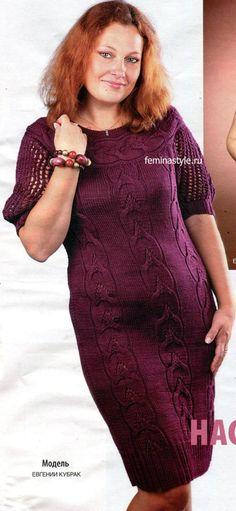 Элегантные вязание платья спицами