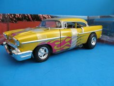 HOT WHEELS CUSTOM '57 CHEVY HOT ROD COLLECTABLES GOLD, FLAMES, 1:18 SCALE CAR #HotWheels #Chevrolet