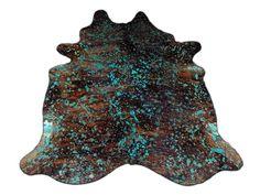 HUGE Turquoise Cowhide Rug H-485 Brindle Acid Washed Turquoise rug 8.25' X 7.5' #cowhidesusa #Lodge