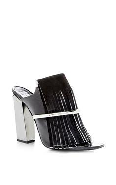 Black Fringe Mule With Nickle Heel by Proenza Schouler for Preorder on Moda Operandi
