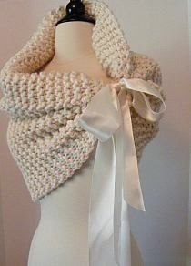 Lovely little shawl with satin ribbon ties.