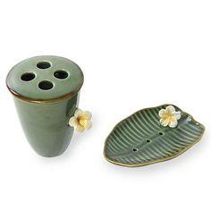 Handcrafted Ceramic Soap Dish and Toothbrush Holder Set - Tropical Frangipani | NOVICA
