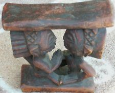 African Tribal Carved Wood Head Rest-Luba tribe of the Congo-male figures .