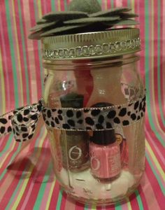Manicure/Pedicure in a Jar | Jar, Cotton Balls, Nail Polish Remover, Nail Polish, Mini Manicure Set, Scrub, Pumice, Hand Cream ...