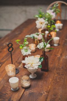 simple + elegant tablescape, photo by Next to Me Studios http://ruffledblog.com/san-diego-loft-wedding #flowers #centerpieces #tablescape