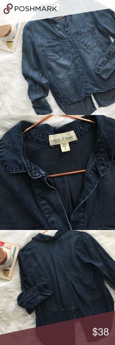 Anthropologie Cloth & Stone Split Back Top Anthropologie brand Cloth & Stone denim split back buttondown size small. Fits true to size. 100% tencel. No stains or holes, smoke and pet free home! Offers welcomed! Anthropologie Tops Button Down Shirts