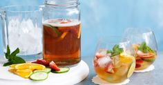 The Classic PIMM'S cocktail is served with fresh seasonal fruit, cucumber, orange and mint.