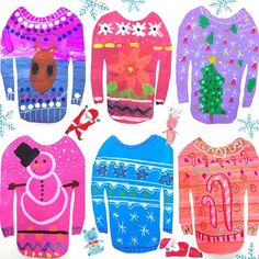 Some more ugly/pretty sweaters. #Uglysweater #christmasproject #arteducation #kidsart #4thgrade