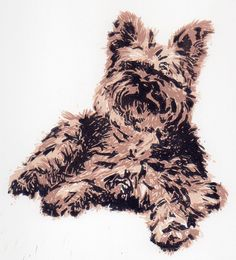Yorkie - 3 color linoleum block print