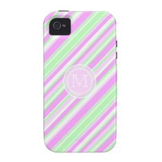Monogram Candy Striped phone case
