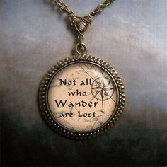 Not All Who Wander are Lost LOTR necklace, Lord of the Rings jewelry travelers quote travelers gift. $21.80, via Etsy.