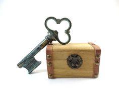 Skeleton Key Bottle Opener  Old Brass by VintageLittleGems on Etsy