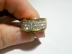 Valentine Gift Pave Crystals in Gold toned band Size 6.5, vintage, 1251