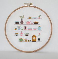 Kitchen Shelves Cross Stitch pattern-cups clock от BisforBumblebee
