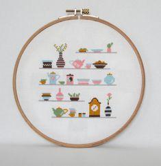 Kitchen Shelves Cross Stitch pattern-cups clock by BisforBumblebee