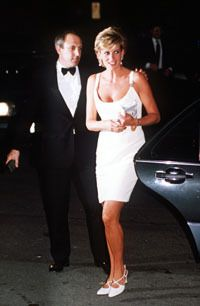 September 12, 1995: Diana is greeted by Pavarotti on arrival for a concert to raise money for Bosnian children in light of the civil war in Modena, Italy.