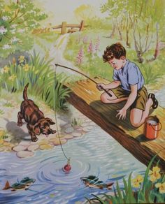 """Vintage Book Art - boy fishing with his dog ~ Illustration taken from """"My animal"""