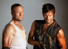 Michael Rooker & Norman Reedus as the Dixon brothers in The Walking Dead.