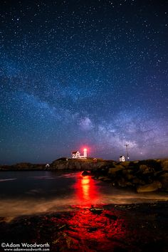 Milky Way Over Nubble Light by Adam Woodworth
