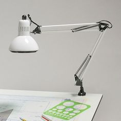 Alvin Swing-Arm Lamp, Color: Black or White - G2540  Found at Drafting Equipment Warehouse