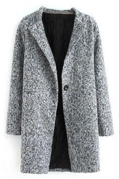 Grey Lapel Long Sleeve Pockets Sweater Coat | Sweater coats ...
