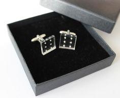 dice cufflinks by CutOutsProductDesign on Etsy Laser Cut Jewelry, Dice, Cufflinks, Stud Earrings, Jewellery, Etsy, Accessories, Earrings, Jewelery
