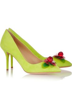 Charlotte-Olympia | Desiree-floral-embellished-suede-pumps