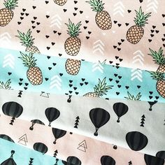 We got some fun fabric from @liandlo today. These beautiful pastels: pineapples and hot air balloons. #liandlo #fabric #pineapples #hotairballoon #fabricshop #fabric #shopfabric #textiledesign #textiel #stoffe #print #summer #pastels #littlesmilemakers