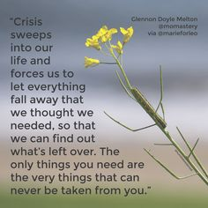 """Crisis sweeps into our life and forces us to hold up our life and let everything fall away that we thought we needed, so that we can find out what's left over... the only things you need are the very things that can never be taken from you."" Glennon Doyle Melton @Momastery via @marieforleo http://www.humblebeeabroad.com/the-only-things-you-need/"