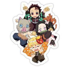 Pegatina «Tanjiro Squad - Demon Slayer: Kimetsu no Yaiba Anime Chibi, Manga Anime, Kawaii Chibi, Anime Demon, Anime Art, Demon Slayer, Slayer Anime, Anime Stickers, Cute Stickers