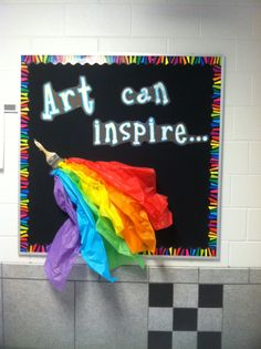 My art class bulletin board this year! Inspired by an idea I saw on Pinterest :)